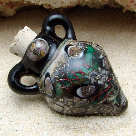 Miniature Perfume Bottle Pendant Hand Blown Glass Vessel For Essential Oils and Scented oils