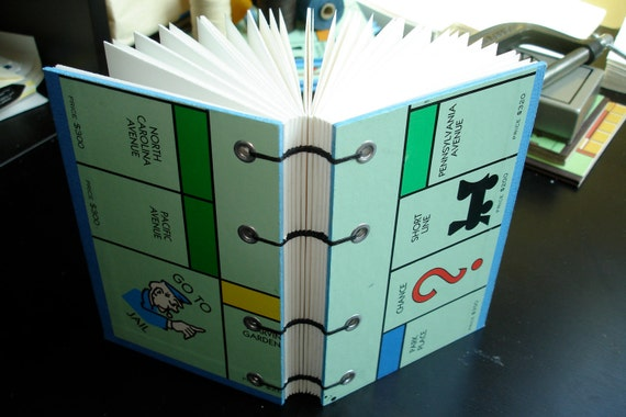 Monopoly Book - Coptic Binding, Hand-made, Upcycled Board Game