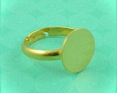50 - Adjustable Ring Base Blank - Jewelry Supply - Gold Plated - 12mm Pad