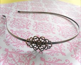 6 - Adjustable Floral Filigree Headband Base Blank - Jewelry Supply - 34mm x 26mm - Antique Brass