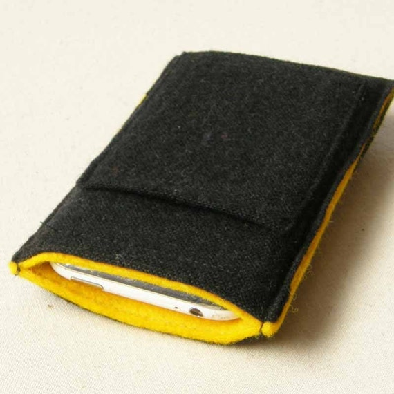 iPhone Case in Black Wool with Yellow Lining