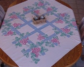 JUST REDUCED/Grape Clusters Vintage Tablecloth from 50s