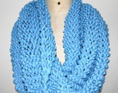 Cowl, super chunky, french blue , unisex, recycled cotton