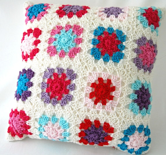 Crochet Pattern Granny Square Pillows : pillow crochet granny square pillow by kitsdiezijn on Etsy