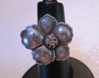 Hibiscus Pewter Button Silver Ring, Wire Wrapped