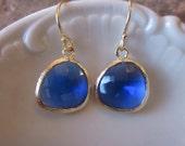 Cobalt Blue Earrings Gold - Bridesmaid Earrings - Wedding Earrings - Valentines Day Gift