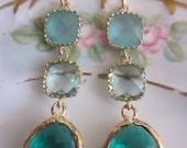 Blue Prasiolite Emerald Green Earrings - Bridesmaid Earrings - Wedding Earrings - Valentines Day Gift