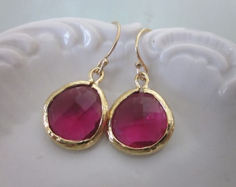 Fuchsia Earrings Pink Gold Plated Gems - Bridesmaid Earrings - Bridal Earrings