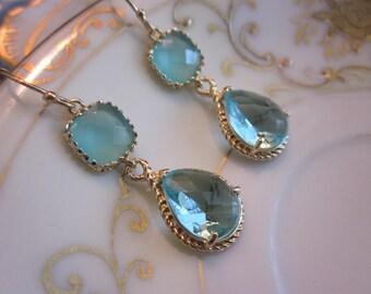 Aquamarine Earrings Blue Aqua Gold Teardrop Glass - Bridesmaid Earrings - Wedding Earrings - Bridal Earrings