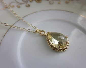 Citrine Necklace Teardrop on 14k Gold Filled Chain - Gold Plated Gem - Bridesmaid Necklace - Bridesmaid Jewelry - Valentines Day Gift