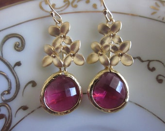 Fuchsia Earrings Gold Flower - Glass Earrings - Bridal Earrings - Bridesmaid Earrings - Wedding Earrings