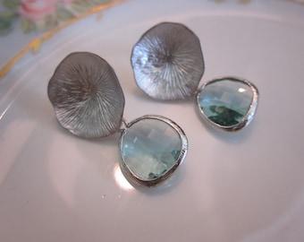 Prasiolite Earrings Silver Mushroom Coral - Bridesmaid Earrings - Bridal Earrings - Wedding Earrings