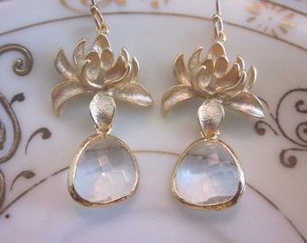 Clear Crystal Earrings Gold Blossoms - Bridesmaid Earrings - Bridal Earrings - Wedding Jewelry