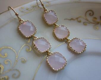 Opal Pink Earrings Light Pink Gold - three tier - Wedding Earrings - Bridesmaid Earrings - Bridal Earrings