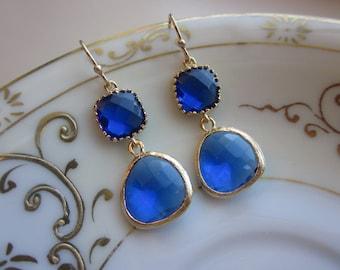 Cobalt Blue Earrings Gold - Gold Plated - Bridesmaid Earrings Wedding Earrings Valentines Day Gift