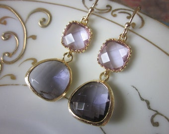 Tanzanite Earrings Lavender Square - Gold Plated - Bridesmaid Earrings - Bridal Earrings - Wedding Earrings