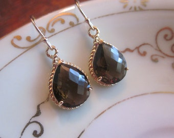 Smoky Brown Earrings Gold Teardrop Bridesmaid Earrings - Bridal Earrings - Wedding Jewelry