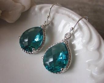 Sea Green Earrings Blue Silver Earrings - Bridesmaid Earrings Wedding Earrings Bridal Earrings - Valentines Day Gift