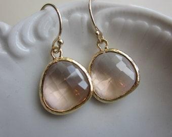 Peach Champagne Earrings Light Pink Gold Plated - Bridesmaid Earrings - Wedding Earrings - Bridal Earrings