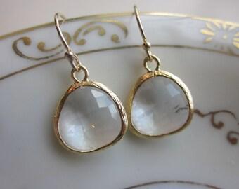 Gold Clear Crystal Earrings Gold Filled Earwires - Bridesmaid Earrings - Bridal Earrings - Wedding Earrings - Valentines Day Gift