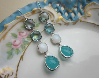 Aqua Earrings White Opal Prasiolite Aquamarine Silver Earrings 4 tier - Bridesmaid Earrings - Wedding Earrings - Valentines Day Gift