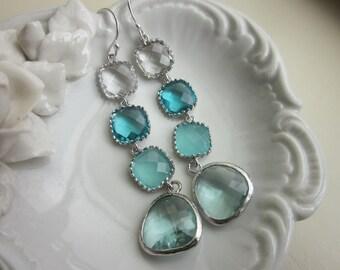 Blue Earrings Aqua Prasiolite Crystal Silver Earrings 4 tier - Bridal Earrings - Wedding Earrings - Valentines Day Gift