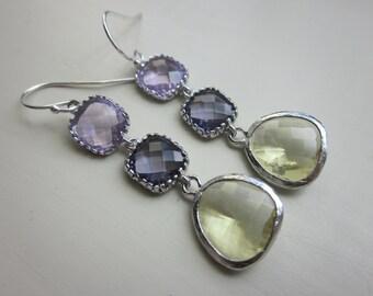 CItrine Tanzanite Lavender Earrings Silver - Bridesmaid Earrings - Wedding Earrings - Bridal Earrings