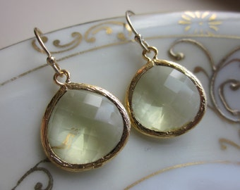 Citrine Earrings Yellow Gold Plated Large Pendant - Wedding Earrings - Bridal Earrings - Bridesmaid Earrings