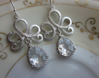 Crystal Clear Earrings Silver Tiara Connectors - Bridesmaid Earrings - Bridal Earrings - Wedding Earrings