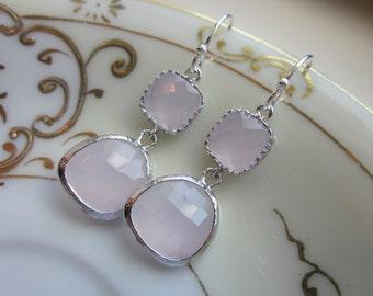 Opal Pink Earrings Light Pink Silver Two Tier Wedding Earrings - Bridesmaid Earrings - Bridal Earrings