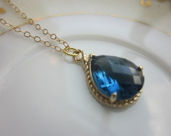 Sapphire Necklace Navy Blue Gold Teardrop Jewelry - 14k Gold Filled Chain - Bridesmaid Jewelry - Wedding Jewelry - Valentines Day Gift