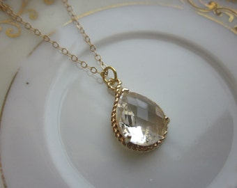 Crystal Necklace Gold Clear Teardrop - 14k Gold Filled Chain - Bridesmaid Necklace - Bridesmaid Jewelry - Bridal Wedding