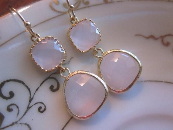 Opal Pink Earrings Light Pink Gold Two Tier Wedding Earrings - Bridesmaid Earrings - Bridal Earrings