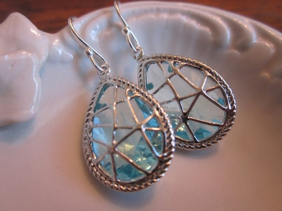 Aquamarine Earrings Blue Silver Twisted Design Sterling Silver Earwires - Bridesmaid Earrings Wedding Earrings Bridal Earrings