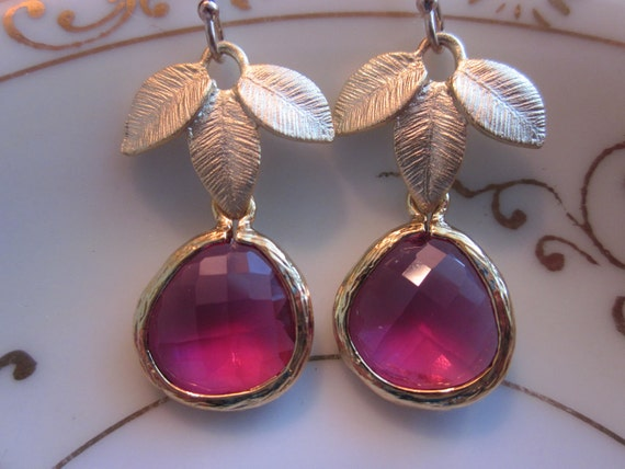 Fuchsia Earrings Pink Three Gold Leaf - Bridesmaid Earrings - Bridal Earrings