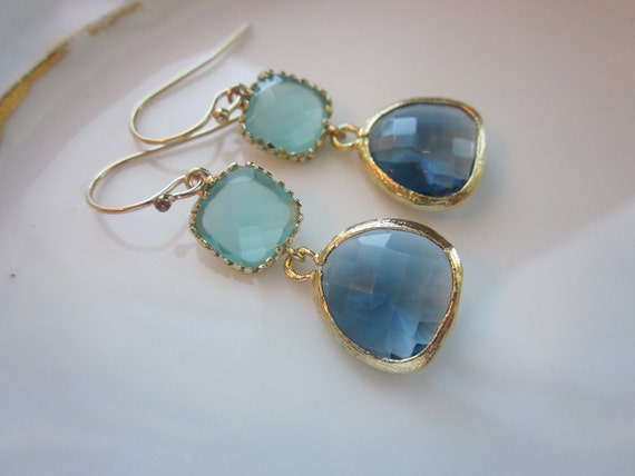 Aqua Blue Earrings Sapphire Gold Plated - Bridesmaid Earrings - Wedding Earrings - Valentines Day Gift
