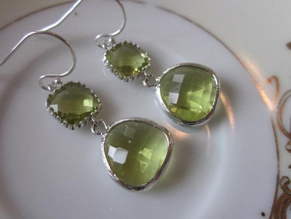 Peridot Earrings Silver Green Apple Two Tier Sterling Silver Earwires - Bridesmaid Earrings Wedding Earrings Bridal Earrings