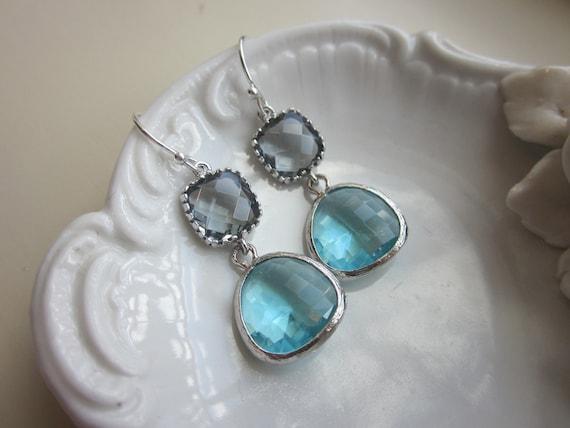 Silver Charcoal Gray Earrings Aquamarine Earrings Blue Two Tier - Bridesmaid Earrings - Bridal Earrings - Wedding Earrings - Christmas Gift