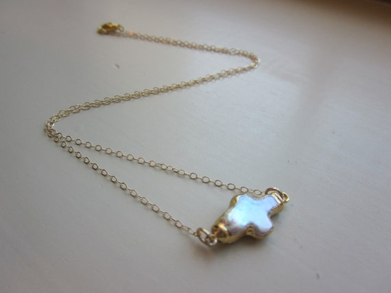 Pearl Sideways Cross Necklace 24k Gold - 14k Gold Filled Chain - Wedding Jewelry - Bridesmaid Jewelry - Bridesmaid Necklace