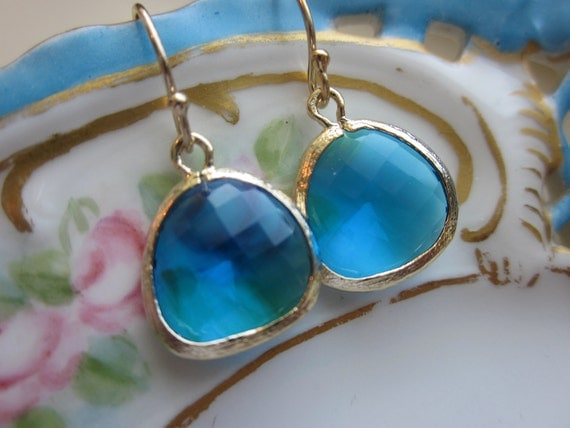 Sea Blue Earrings Gold Plated - Bridesmaid Earrings - Wedding Earrings - Bridal Earrings - Valentines Day Gift