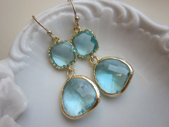 Aquamarine Earrings Gold Two Tier Blue Earrings - Bridesmaid Earrings Wedding Earrings Valentines Day Gift