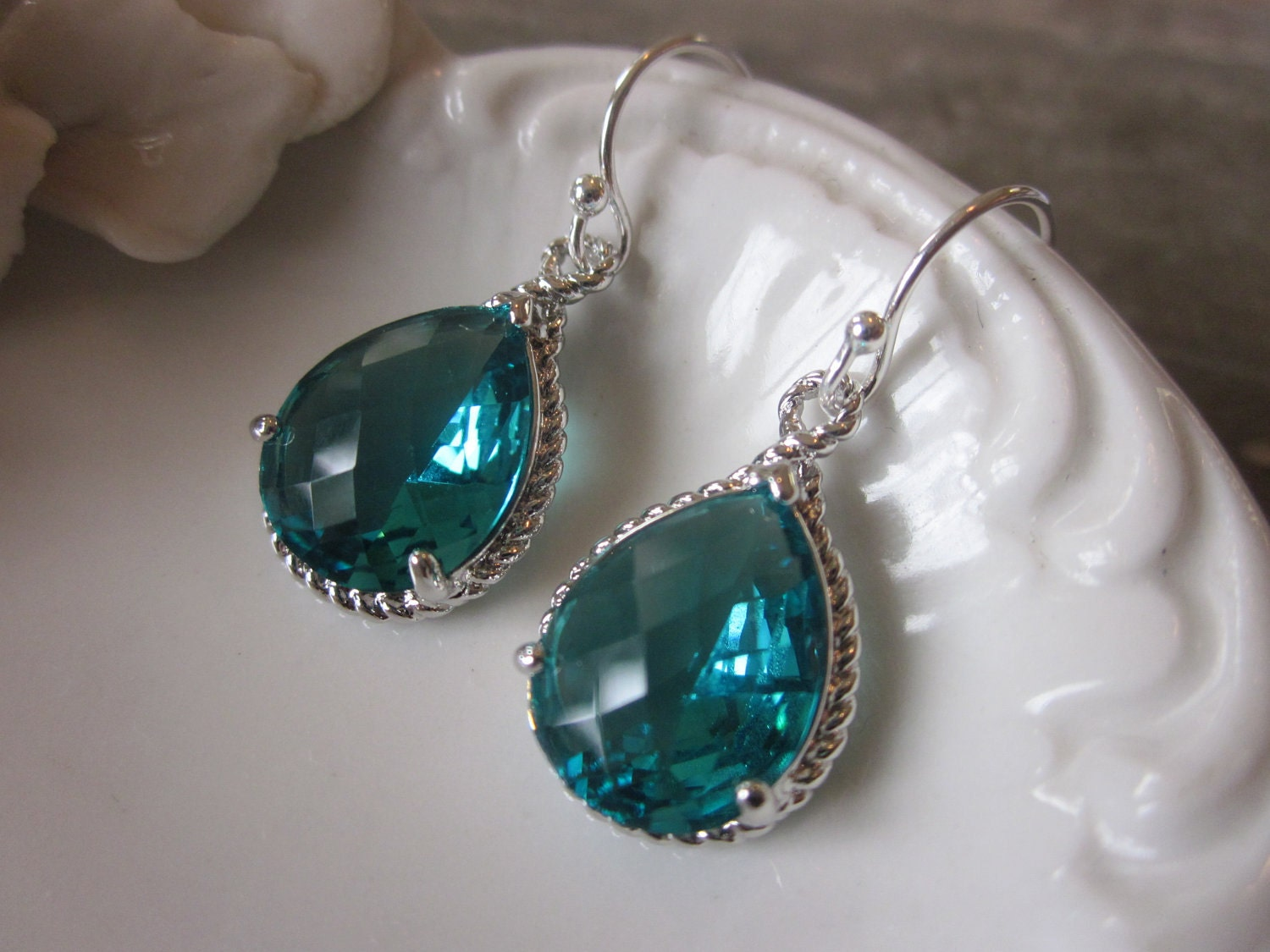 sea green earrings blue silver earrings bridesmaid by laalee
