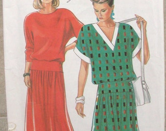 Sale Uncut  New Look Pattern  6827 Misses V-Neck & Round Neck Dress Size 8, 10,12, 14,16,18