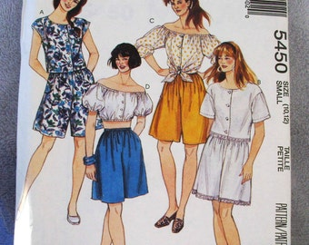 1991 Uncut  Easy McCalls Pattern 5450 Misses Tops & Shorts  Size 10, 12  Small