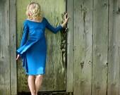 Vintage Women's Handmade Silk Dress Teal Blue Green Fitted