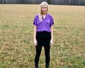 Vintage 1980s Women's Retro Hipster Purple Blouse Size M