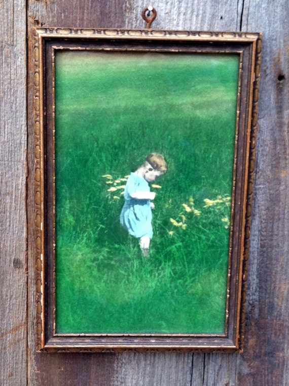 Vintage 1920's Colored Photo of a Little Boy in a Field of Flowers - In Original Frame