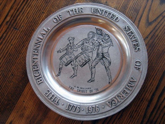 Bicentennial Spirit of '76 Pewter Plate by A.M.Willard American Revolution Commemorative