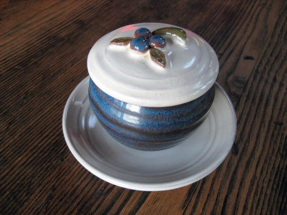 Blue and White Maine Jam Pot w Blueberry Lid and Saucer Rackliffe Signed Pottery Blue Hill ME