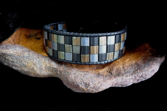 Black Leather Single Wrap Bracelet with Tila Beads in Bronze, Black, and Silver